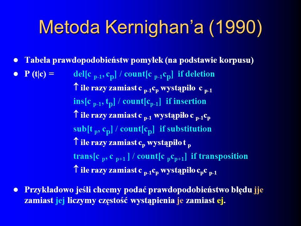 Metoda Kernighan'a (1990) Tabela prawdopodobieństw pomyłek (na podstawie korpusu) P (t|c) = del[c p-1, cp] / count[c p-1cp] if deletion.